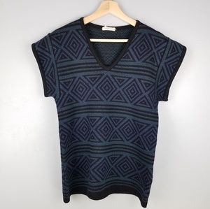Vtg Givenchy Geometric Short Sleeve Sweater Top 38